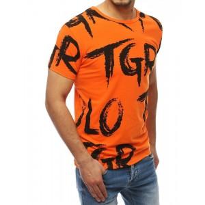 Oranžové pánske tričko s nápismi s krátkym rukávom
