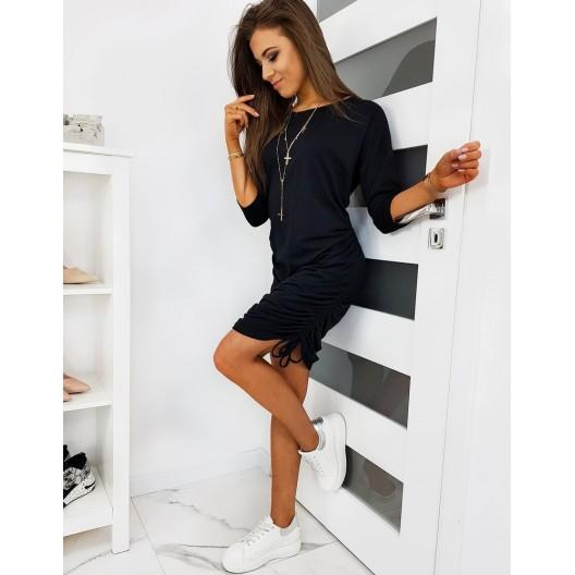Čierne dámske šaty na leto s trojštvrťovým rukávom