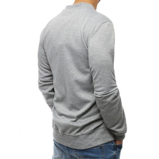 Sivá pánska mikina cez hlavu bez kapucne