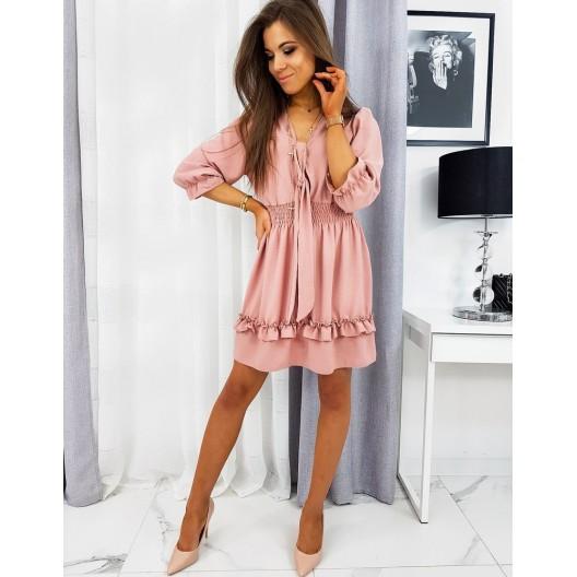 Ružové trendové šaty s volánmi na leto
