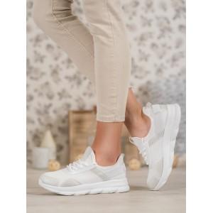 Štýlové dámske biele tenisky na platforme