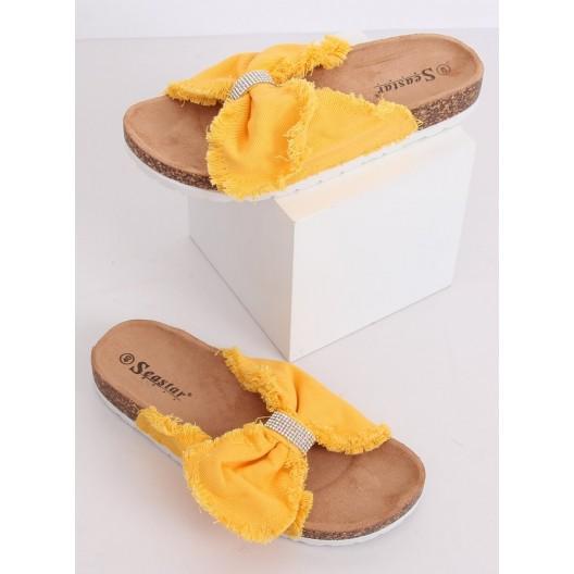 Moderné dámske žlté šľapky so strapcami a zirkónmi