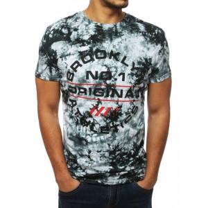 Vzorované pánske tričko v čiernej farbe s krátkym rukávom