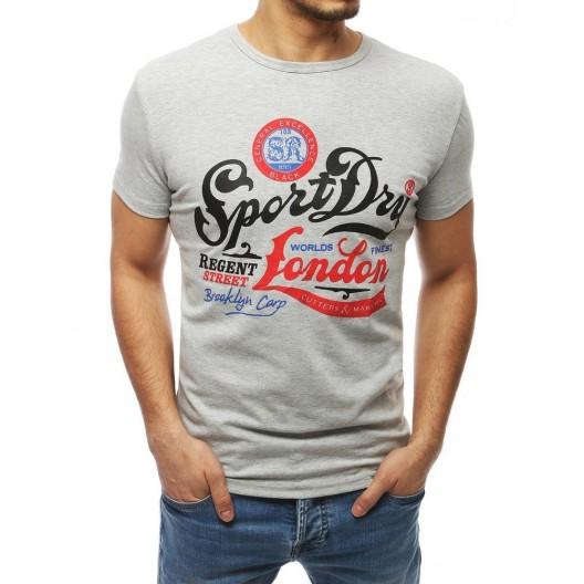 Sivé pánske športové tričko s potlačou