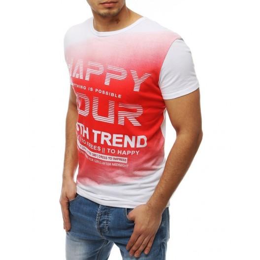 Červeno biele pánske moderné tričko s krátkym rukávom