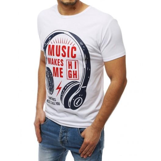 Letné biele tričko s hudobným motívom