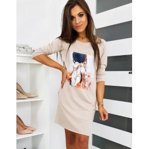 Letné dámske šaty v béžovej farbe