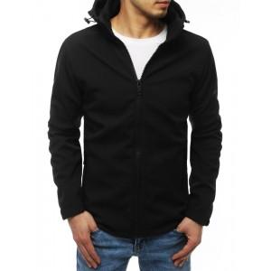Čierna pánska prechodná bunda s odnímateľnou kapucňou