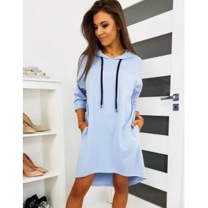 Modré dámske športové šaty s kapucńou na leto