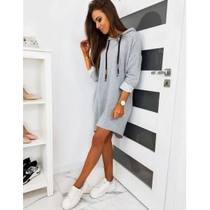Dámske sivé šaty s kapucňou