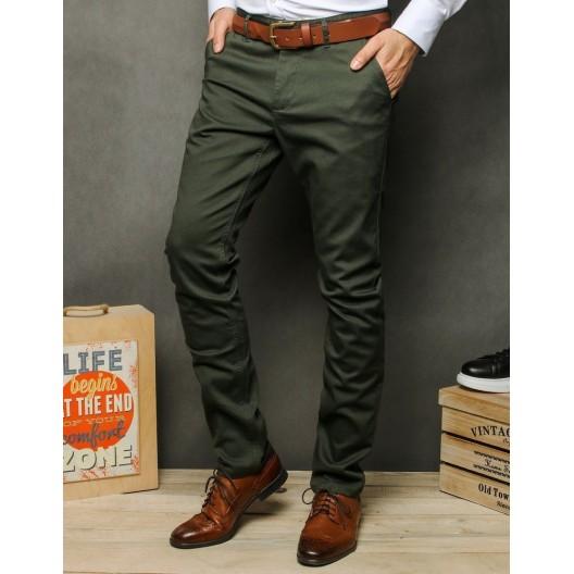 Pánske nohavice typu chinos v khaki zelenej farbe