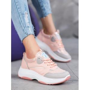 Dámske kotníkové tenisky v ružovej farbe