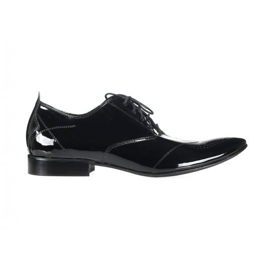 Elegantné pánske kožené topánky čiernej farby COMODOESANO