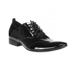 Elegantné pánske kožené lakované topánky čiernej farby COMODOESANO
