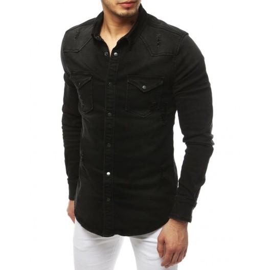 Čierna moderná rifľová košeľa s dlhým rukávom