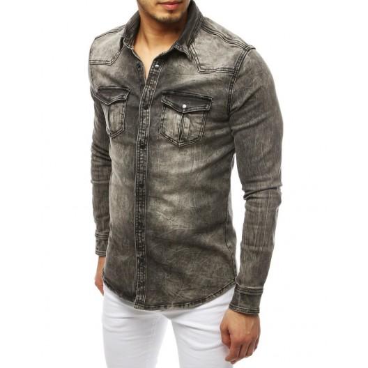 Pánska rifľová košeľa s dlhým rukávom sivej farby