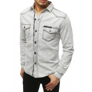 Svetlo sivá pánska rifľová košeľa s náprsnými vreckami