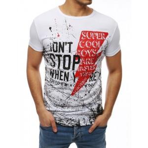 Pánske tričko v bielej farbe s potlačou