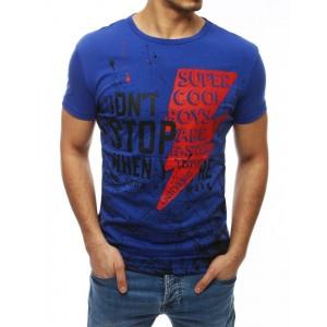 Štýlové pánske tričko s krátkym rukávom v modrej farbe
