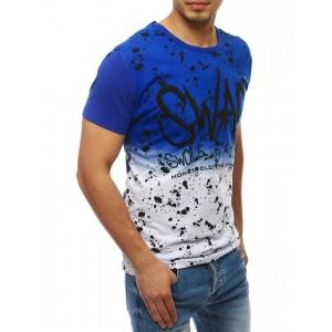 Fľakaté pánske tričko v modrej farbe s krátkym rukávom
