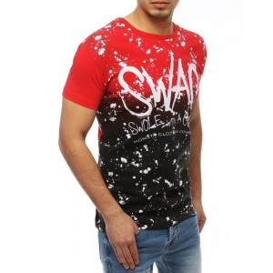 Lacné pánske tričko v červenej farbe s nápisom SWAG