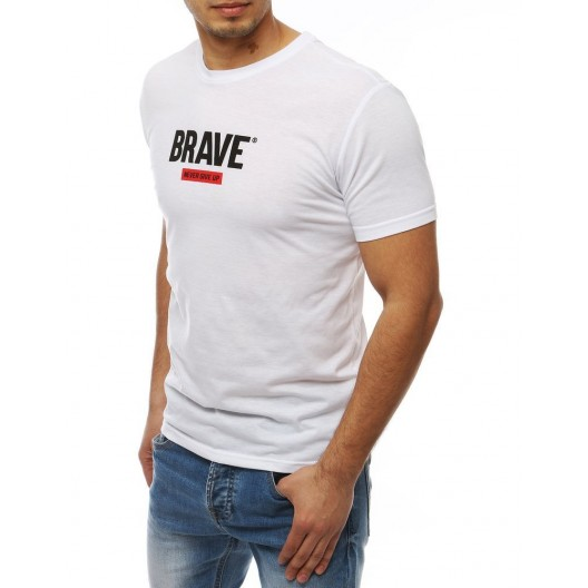 Biele letné tričko s nápisom BRAVE