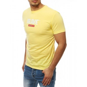 Žlté pánske tričko s nápisom BRAVE