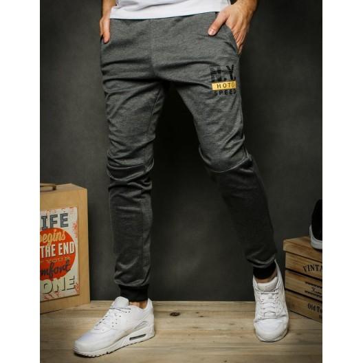 Pohodlné tmavo sivé tepláky s vreckami na zips