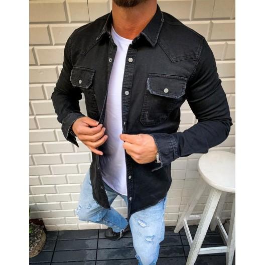 Moderná pánska košeľa v čiernej farbe