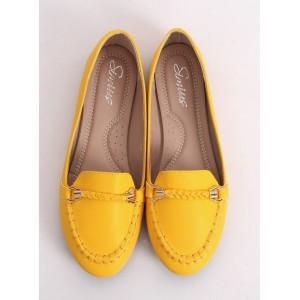 Módne dámske mokasíny v žltej farbe