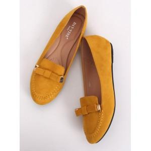 Lacné dámske semišové mokasíny v žltej farbe