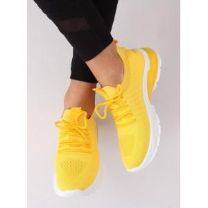 Dámske lacné tenisky na leto v žltej farbe