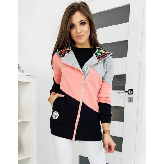 Dlhá trendová mikina ružovej farby s kapucňou