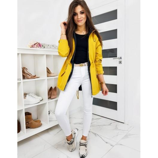 Žltá obojstranná jarná bunda s odnímateľnou kapucňou