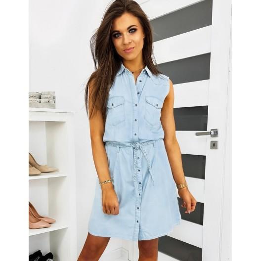 Dámske bavlnené šaty modrej farby košeľového typu