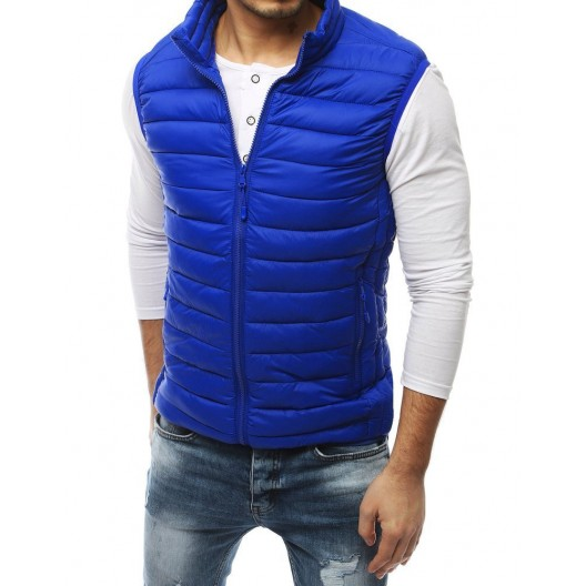 Pánska štýlová modrá vesta bez kapucne