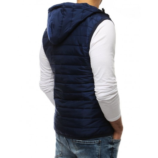 Pánska vesta v modrej farbe so zapínaním na zips