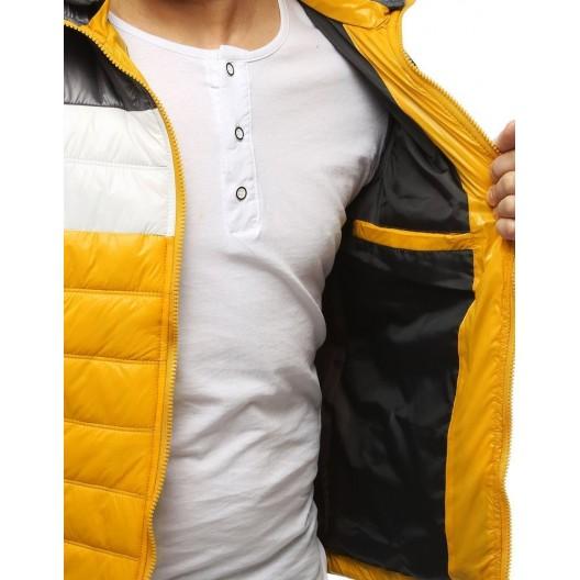 Jarná pánska vesta v žltej farbe s kapucňou