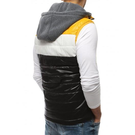 Štýlová pánska vesta v čiernej farbe s kapucňou