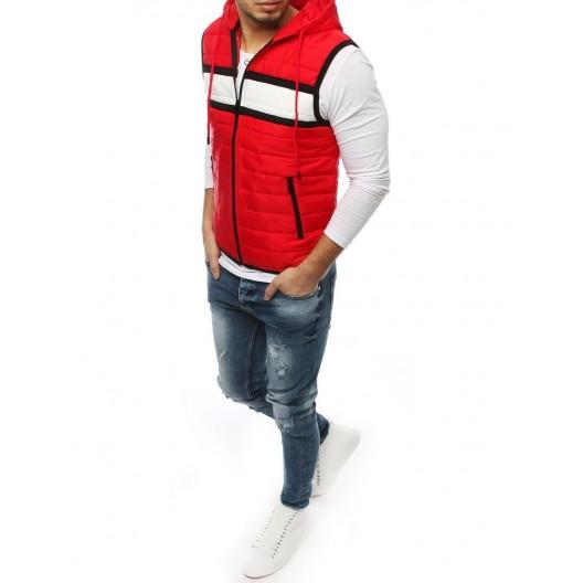 Moderná pánska vesta s kapucňou v červenej farbe