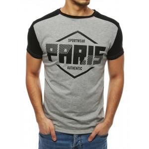 Štýlové pánske tričko s krátkym rukávom v sivej farbe