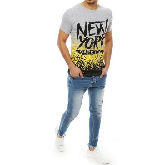 Sivé moderné tričko s nápisom NEW YORK