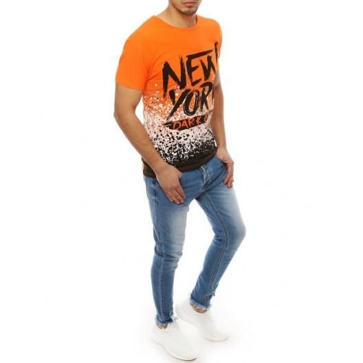 Oranžové pánske štýlové tričko s krátkym rukávom