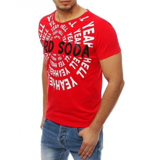 Červené tričko s krátkym rukávom a potlačou