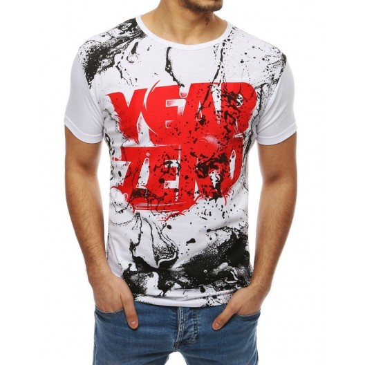 Trendové biele tričko s červeným nápisom