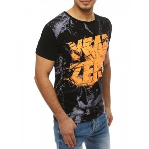Čierne pánske tričko s farebným nápisom