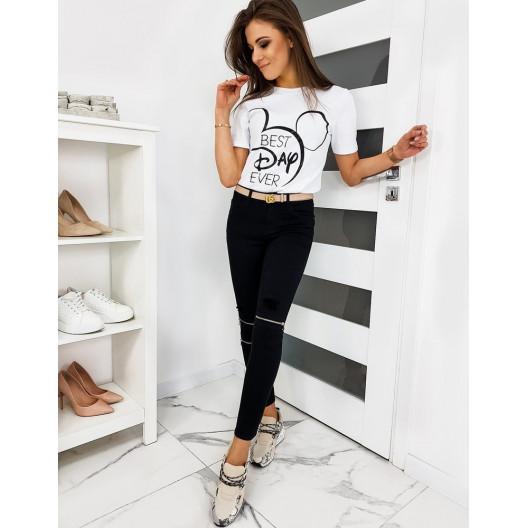 Štýlové dámske tričko bielej farby s motívom mickey