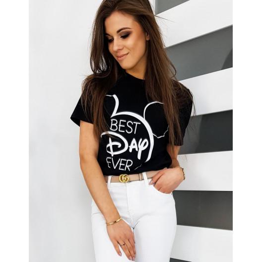 Trendové čierne tričko s krátkym rukávom na leto