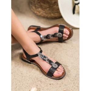 Dámske sandále v čiernej fabre so zapínaním na remienok