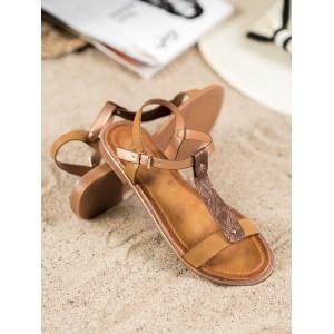 Originálne dámske nízke sandále v zlatej farbe na leto